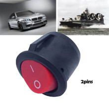 CARPRIE 2Pin 23mm Round switch New Round Rocker Switch 2 Terminals Red Button Toggle Switch ON OFF Switch Cars For Accessories cheap 0inch 2011 2009 2013 2015 2014 2010 2016 2012 plastic metal Switches safe and easy to assemble ON-OFF 10000 Cycles Cambiar