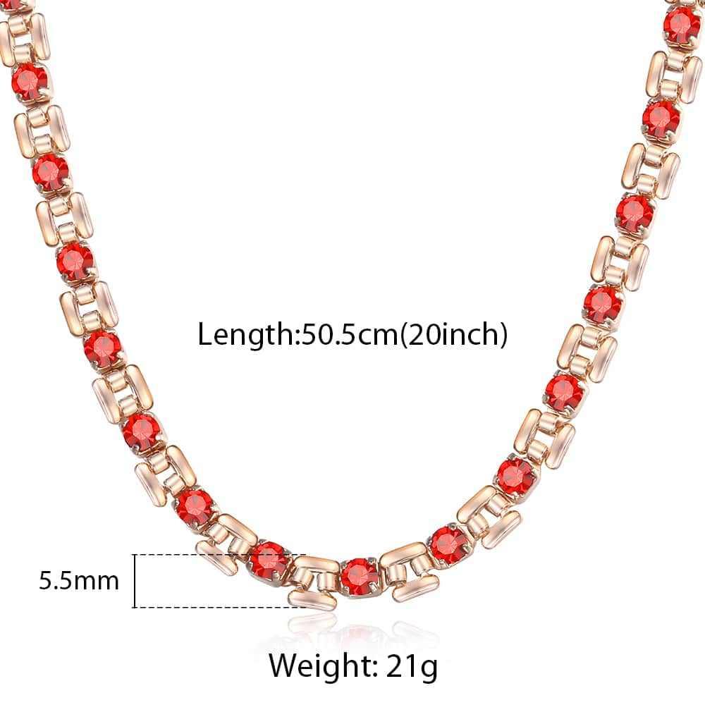 6 kolor Cubic cyrkon kryształ 585 naszyjnik z różowego złota dla kobiet dziewczyna gorąca impreza biżuteria ślubna kobieta prezenty walentynkowe 50cm GNM129