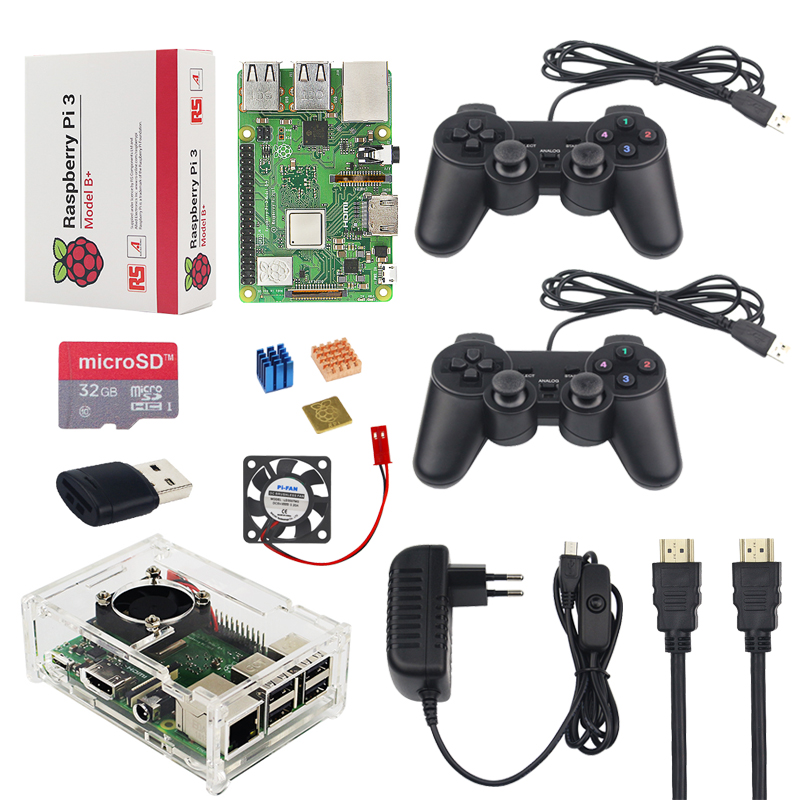 Raspberry Pi 3 Model B+ Game Kit + 32G SD Card + 2 Gamepad + Acrylic Case + Fan + 3A Power + Heat Sink + HDMI Cable for RetroPie