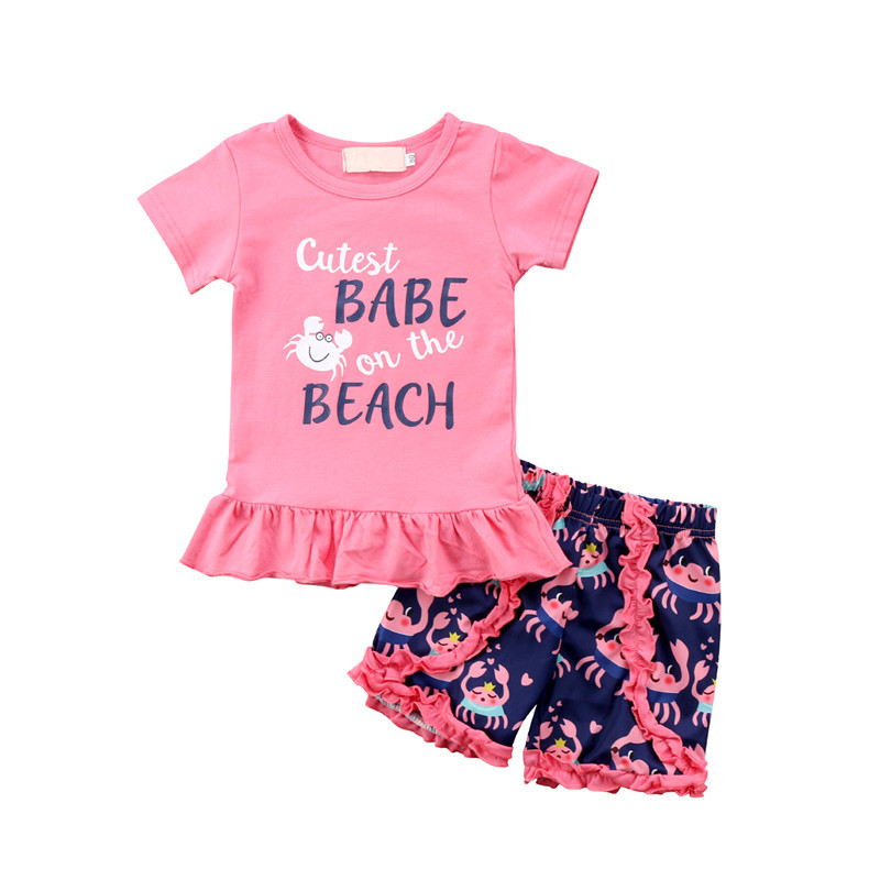 Lovely Summer Children Clothing 2018 Fashion Baby Girl Short Sleeve Pink T-shirt Tops+Ruffles Short Pants Kids Girls Clothes Set 2pcs children outfit clothes kids baby girl off shoulder cotton ruffled sleeve tops striped t shirt blue denim jeans sunsuit set