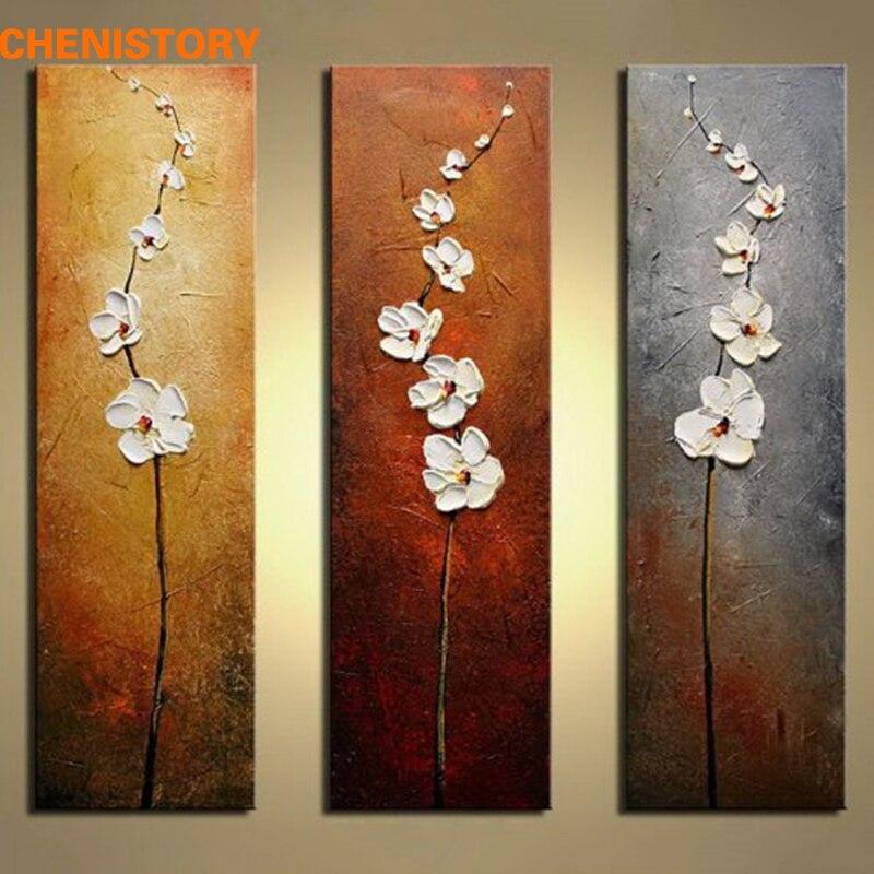 Senza cornice 3 Panels Fiore Bianco Pittura A Olio Moderna Immagine Della Parete Dipinta A Mano Spatola Pittura Per La Decorazione Domestica Opere