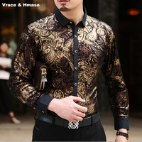 European style personalized stamping printing luxurious long sleeve shirt High end gold velvet soft top quality shirt men M XXXL