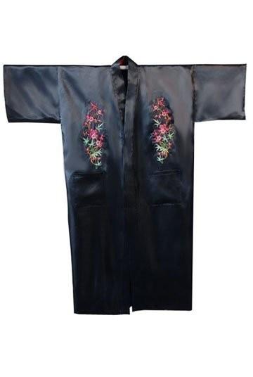 Black Chinese Men's Silk Satin Robe Hombres Pijama Embroidery Kimono Bath Gown Flower S M L XL XXL XXXL Free Shipping MR-018-A