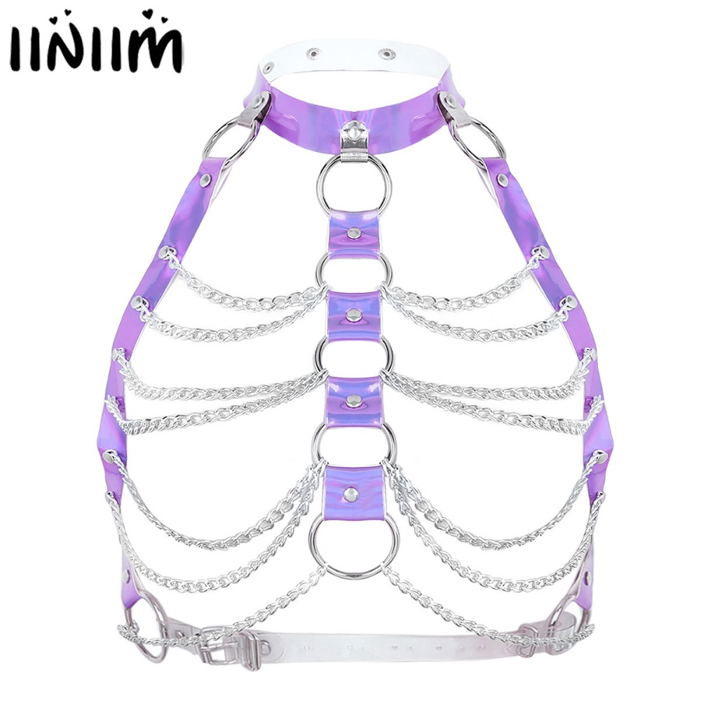 Womens Halter Caged Bra Harness Party Chain Bondage Belt Festival Rave Costume Sexy Night Clubwear Pastel Belt Goth Top