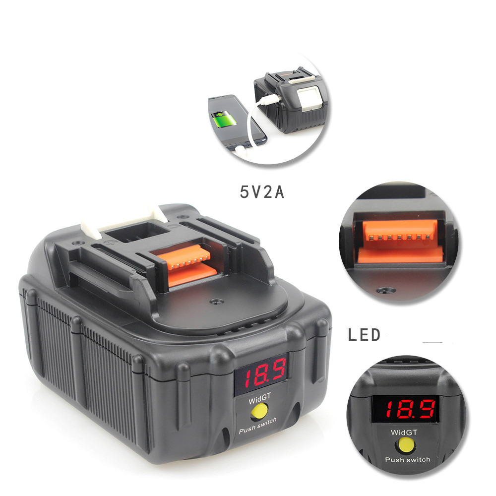 USB 18V 6000mah Batteryfor Makita With LED Indicator 194204-5 194205-3 194309-1 BL1815 BL1830 BL1835 LXT400 dkny сумка на руку