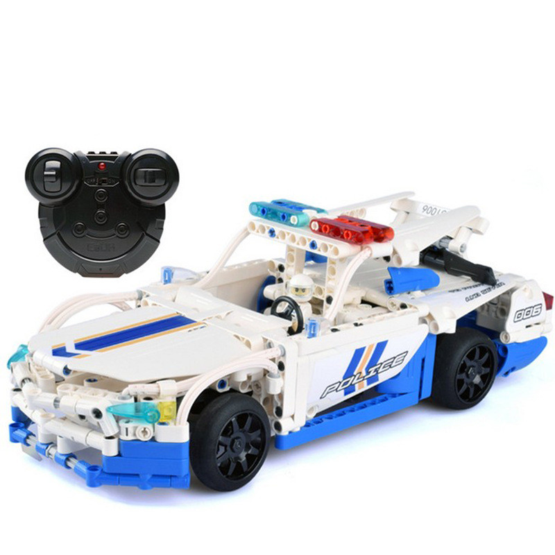 Technic Remote Control RC Police Car Building Block Brick Toy Technic Series Compatible with Legoingly technican technic 2 4ghz radio remote control flatbed trailer moc building block truck model brick educational rc toy with light