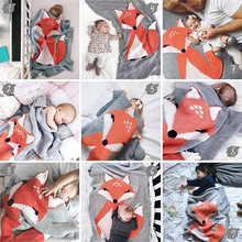 Newborn Baby Cartoon Fox Wool Blanket Swaddle Crib Bed Sofa Sleeping Cover Knitting Blanket For Newborn Photography Props