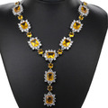"Long Pendant Golden Citrine, White Cz Created SheCrown Wedding Woman's   Silver Necklace 18.5"" 74x35mm"