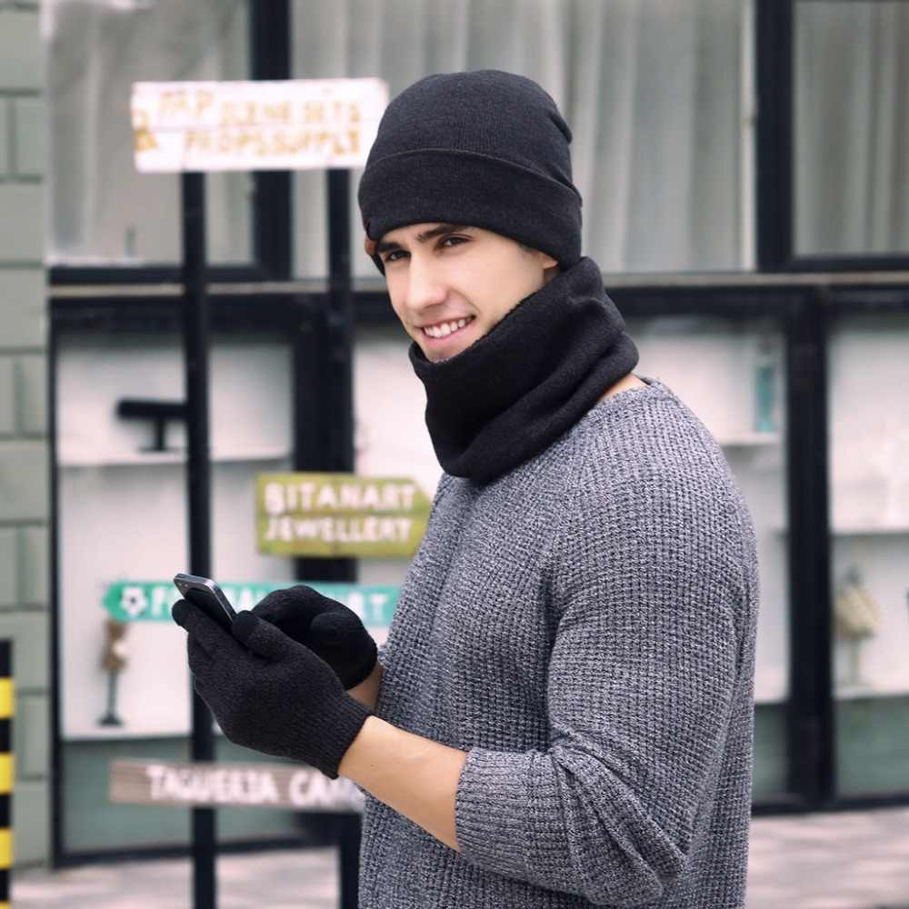 46f7350e6 KLV 3 Pcs Unisex Men Women Knit Hat Scarf Touch Screen Gloves Warm Winter  Set Solid