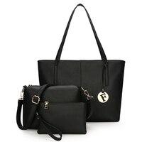 SA Women's Handbag Plain Black White Color Shoulder Bag Durable Canvas Casual Tote Big Capacity Shopping Bag purse 3 sets