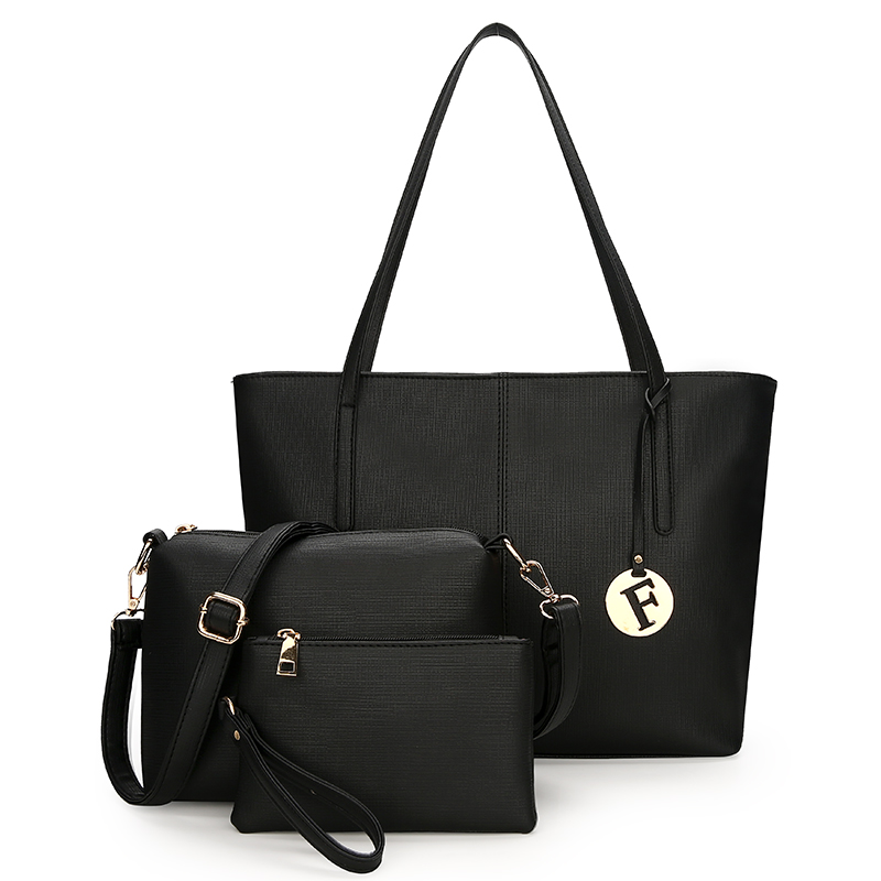 Sac à main femme SA uni noir blanc couleur sac à bandoulière Durable toile décontracté fourre-tout grande capacité sac à provisions sac à main 3 ensembles