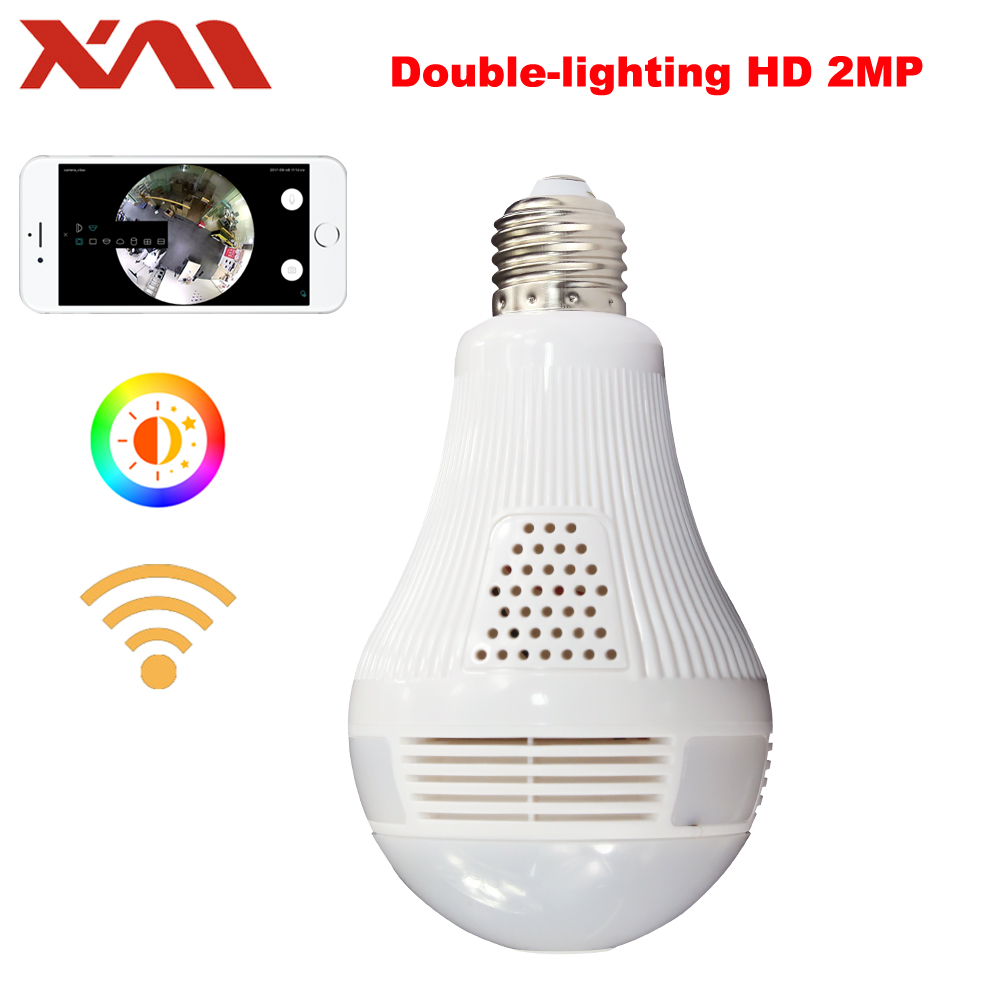 Double Lighting Bulb 360 Panoramin Safty Wifi 1080P VR Camera Security Camcorder Motion Detection CCTV Support