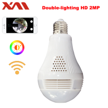 Double-lighting bulb 360 Panoramin Safty Wifi 1080P VR Camera Security Camcorder Motion Detection CCTV Support PC Tablet Phone
