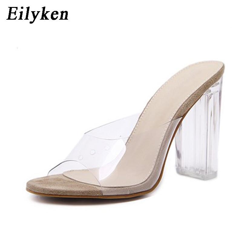 Eilyken 2018 New PVC Jelly Sandals Crystal Open Toed High Heels Women  Transparent Heel Rome Sandals Slippers Pumps Size 35-42 fae8d6429a1c