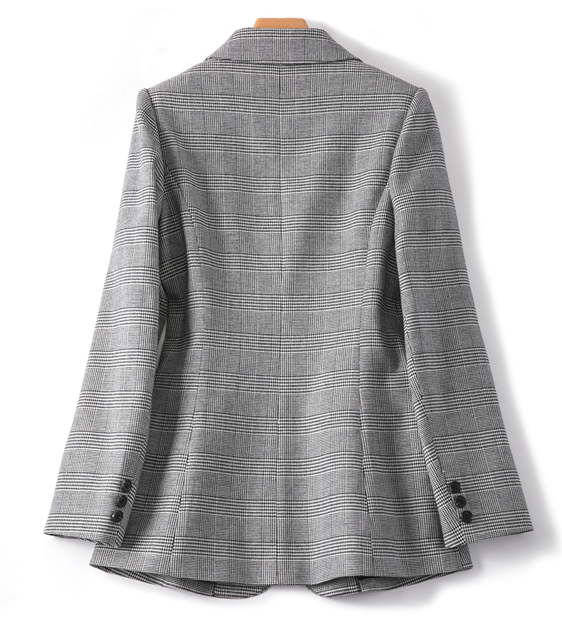 Vintage Office Ladies Plaid Blazer Long Sleeve Loose Houndstooth Suit Coat Jacket Women Blazers Female 2019 Spring Autumn Tops