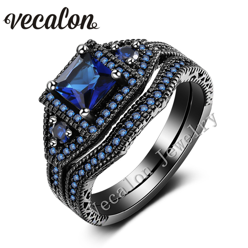 Vecalon Romantic Lovers Wedding Band Ring Set Blue sapphire Cz Diamond 10KT  Black Gold Filled Female