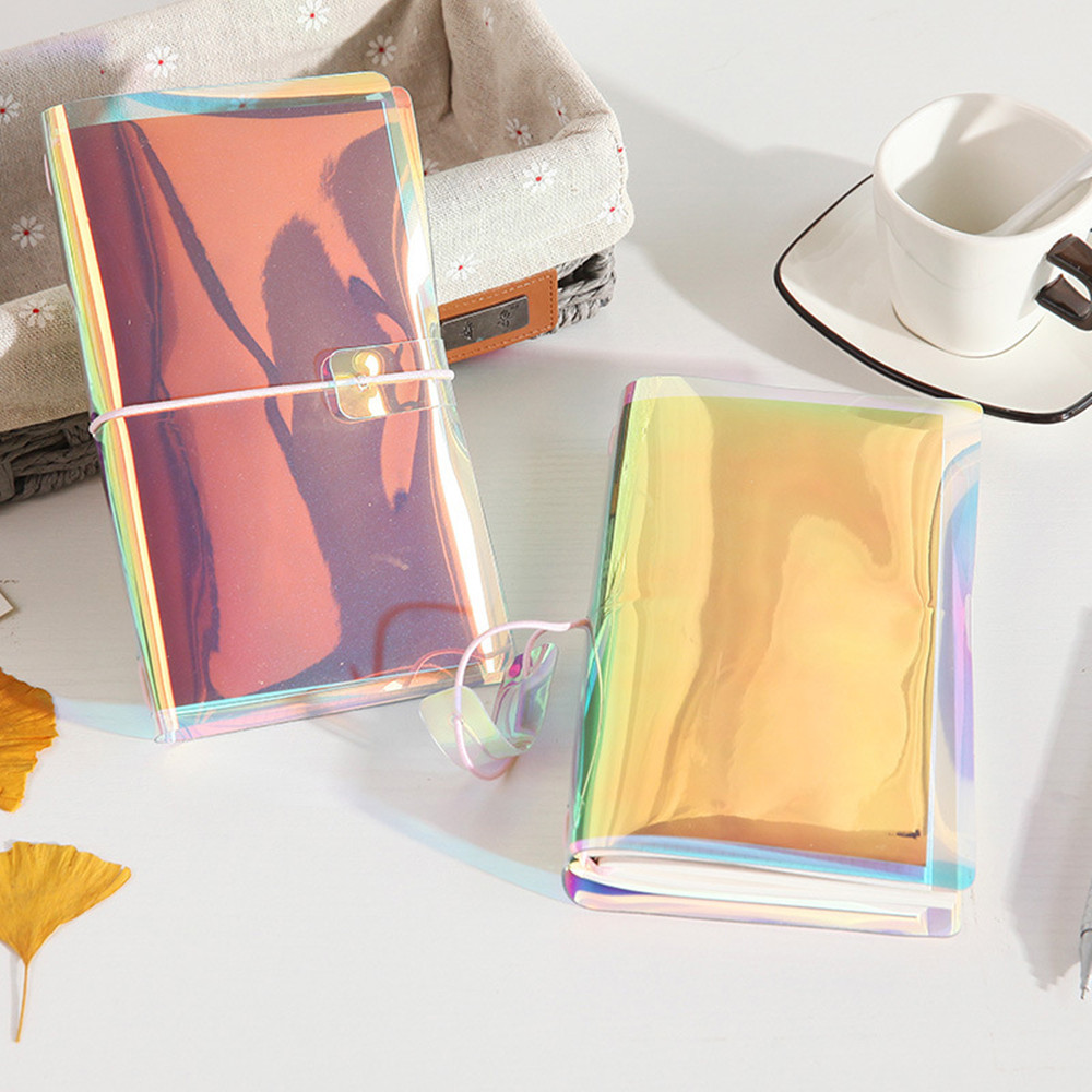 Colorful Travelers Notebook Holographic PVC Cover DIY Journal Gift Blank Grid Monthly Inserts Pages Zip Pocket 2018 Trend Agenda