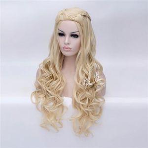 Image 3 - Daenerys Targaryen Cosplay Wig Dragon Mother Long Wavy Blonde Hair Wigs Halloween Party Costume Wig