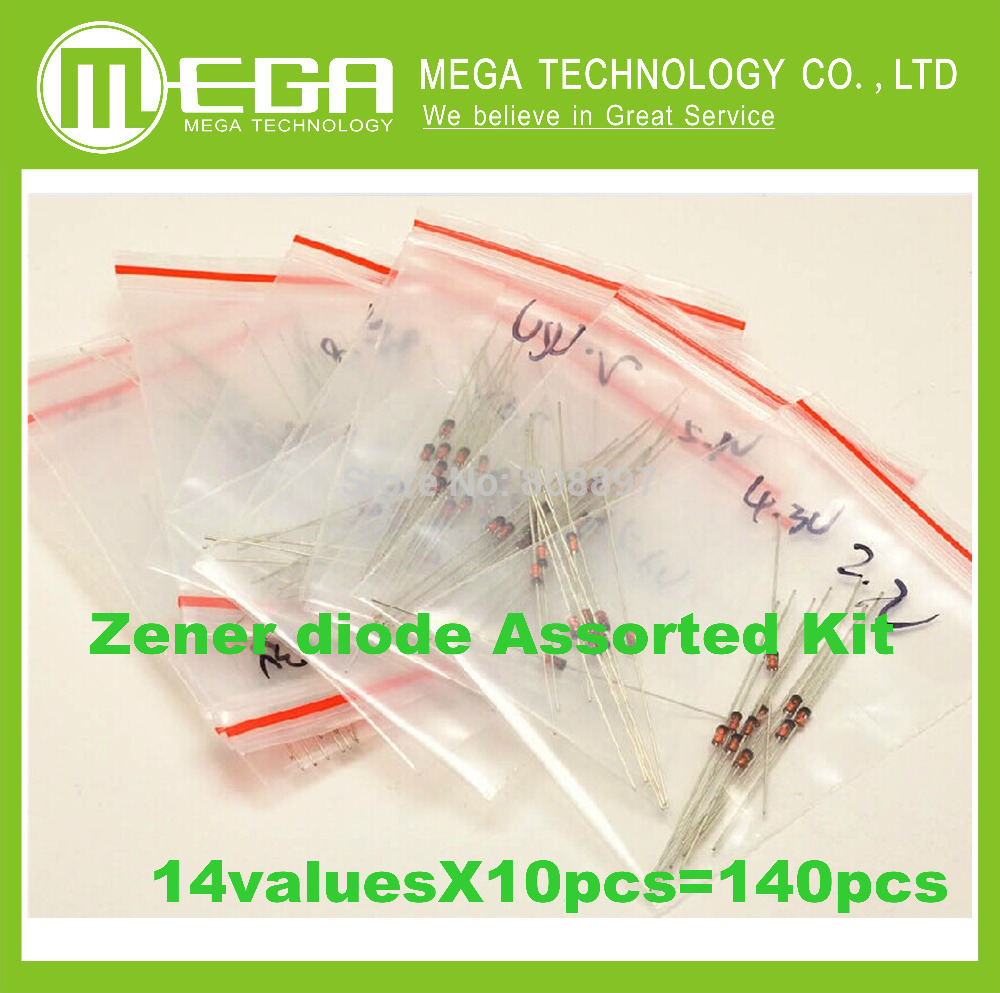 !!! Free shipping 1W Zener diode, 3.3V-30V 14valuesX10pcs=140pcs,Electronic Components Package,Zener diode Assorted Kit