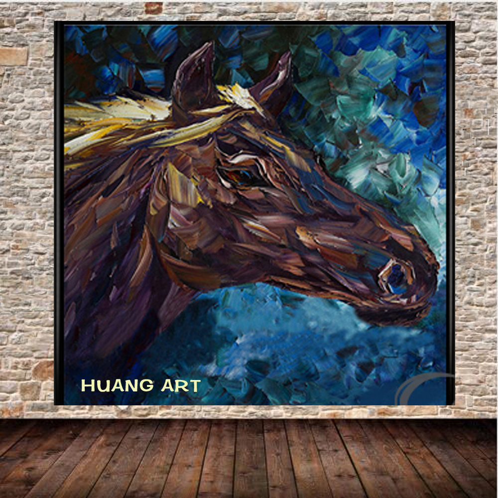 handmade canvas painting Modern Chinese Home Decoration A black horsehead with a blue bottom wall Art