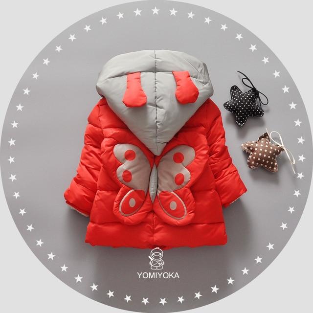 New Warm Winter Baby Infants Girls Children Kids Butterfly Cartoon Hooded Thicken Cotton Jacket Outwear Parkas Coat Casaco