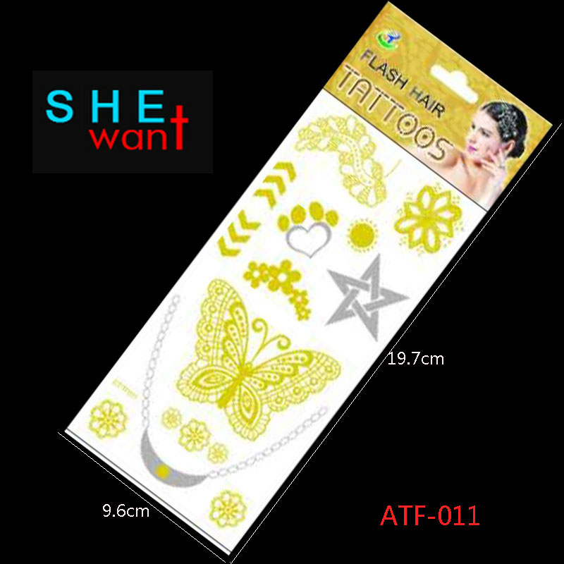 Atf-011 Hot Flash Leaves Bracelet Gold Metallic Tatoo Temporary Sexy Women Hair Wrist Body Art Jewelry Tattoo Stickers Design