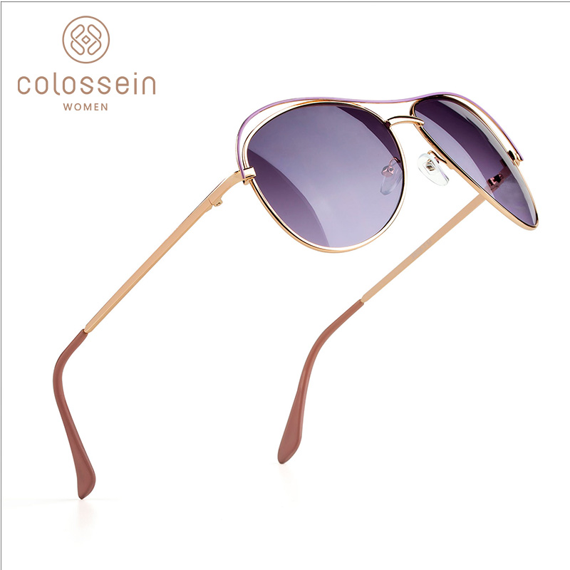 New fashion sunglasses women pilot metal light gradient gold crystal rubber sun glasses uv400 oculos de sol feminino