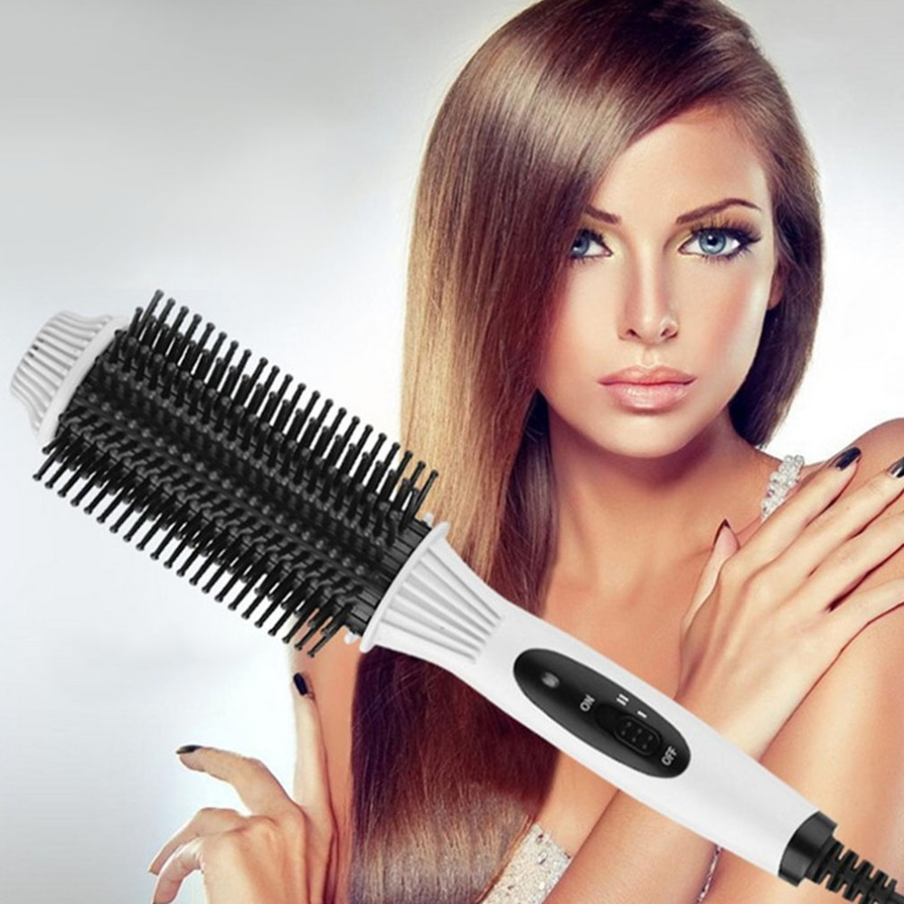 Multi-functional 2 in1 Electric Straightener Curler Hair Comb Anti-scald Curling Irons Hair Care Comb Styling Tools EU Plug hair care hight quality real ebony black comb 1 piece health care hair styling tools hair brushes best gift