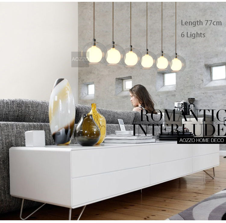 Modern 6 lámpa üvegszappanok étkező függő lámpa romantikus - Beltéri világítás