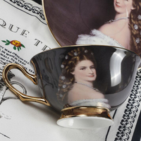 High Quality European Court Figure Oil Painting Bone China Coffee Cup and Saucers coffee cup sets tea cup set party Wedding Gift