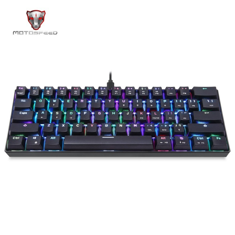 Motospeed RGB LED Backlight 61 Keys Mechanical Keyboard Wired Gaming Keyboard for PC Desktop Tablets Hot Sale Drop Shipping