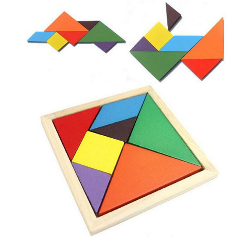 Kids Toy Wooden Tangram 7 Piece Jigsaw Puzzle Colorful Square IQ Game Brain Teaser Intelligent Educational Toys christmas gifts