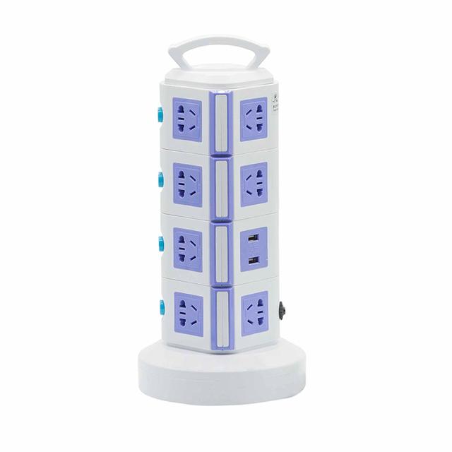 Envío libre 4 Capas 2600 W 220 V/230/240 10A Salida Portable Torre Enchufe Enchufes de Extensión Puerto USB Protector de Sobrecarga