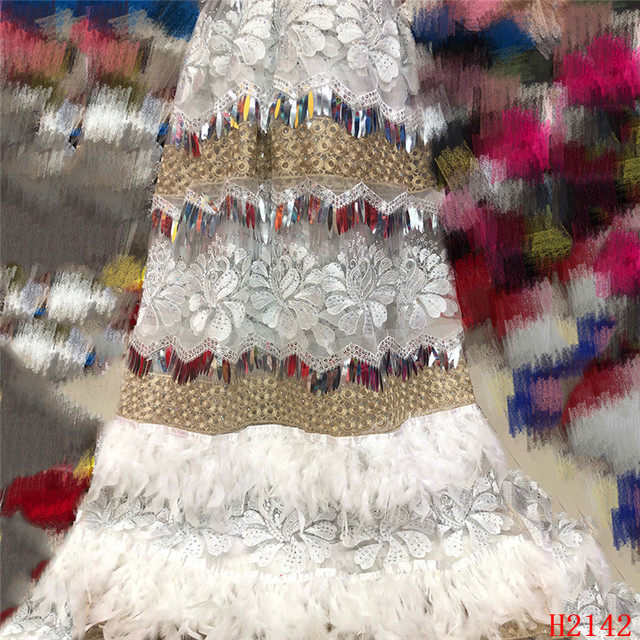High Quality 2019 Tulle Sequins French Nigerian Lace Fabrics Plume Embroidered African Red Lace Fabric HJ2142-1 1