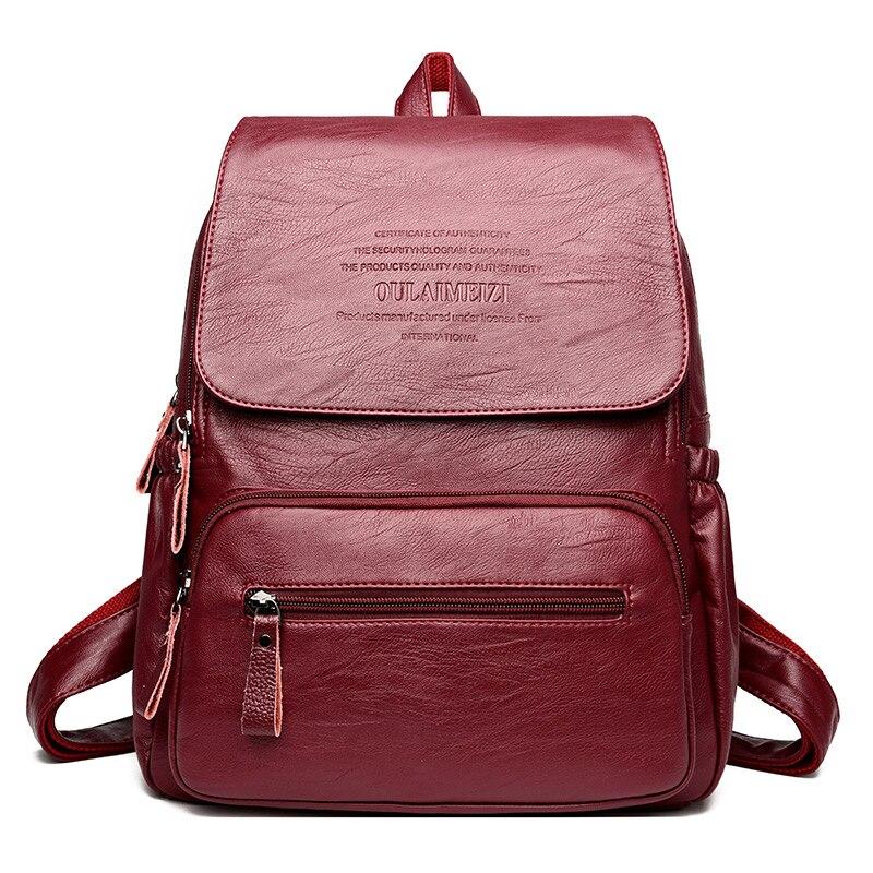 HTB1.m7UiOCYBuNkHFCcq6AHtVXaX 2019 Vintage Leather Backpacks Female Travel Shoulder Bag Mochilas Women Backpack Large Capacity Rucksacks For Girls Dayback New