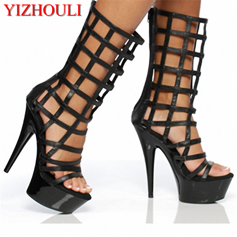 15cm short boots, high heels boots, shoes for the night stage of the shoes, and cool with hollow grid Dance Shoes15cm short boots, high heels boots, shoes for the night stage of the shoes, and cool with hollow grid Dance Shoes