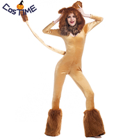 Deluxe Lion Costume Queen of the Jungle Women's Fluffy Animal Jumpsuit with Leg Warmers Halloween Carnival Party Fancy Dress