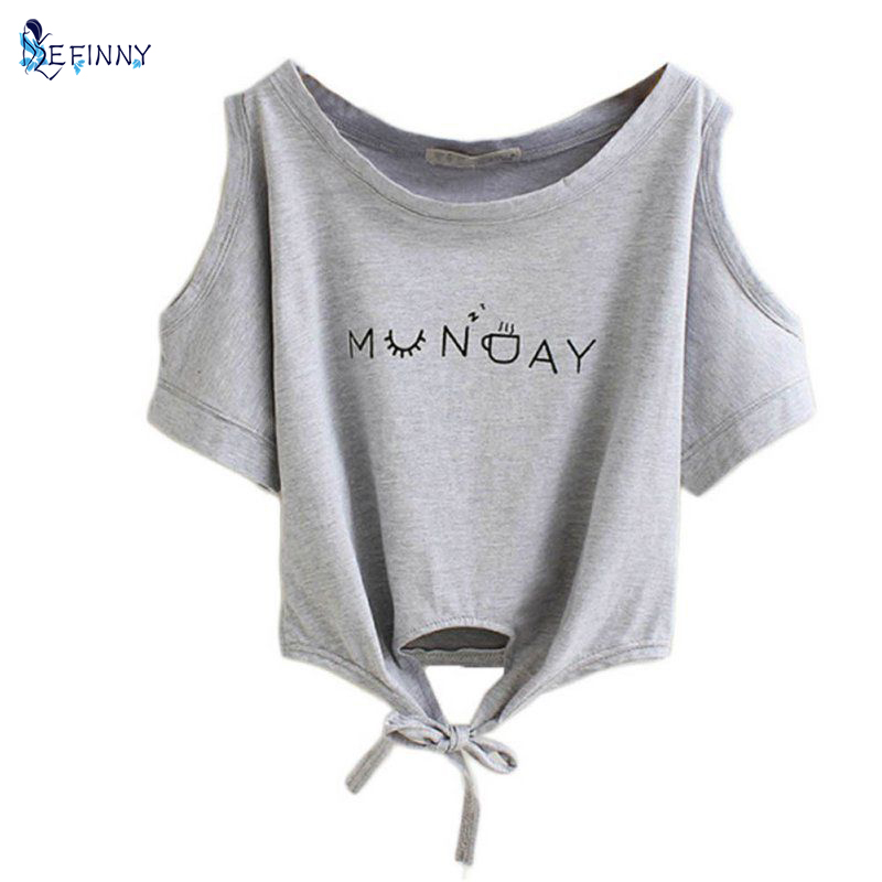 EFINNY Summer Women T-shirt Elegant Letter Shoulder Off Print Crop Top Short Sleeve O-neck Shirt Loose Tops