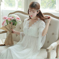 Free Shipping Princess Style Women's Long Nightdress Court Pijamas Beige White Nightgown New 2017 High Quality Nightshirt PT1623