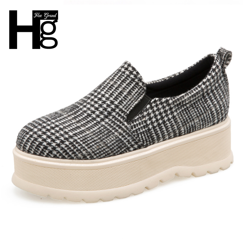 HEE GRAND Platform Women Casual Daily Shoes Spring Autumn Gingham Creepers Flats Shoes Women With 4 Colors Size 35-39 XWD6352 hee grand casual women s sandals 2017 silver creepers platform summer shoes woman flats pink casual women shoes xwz3886