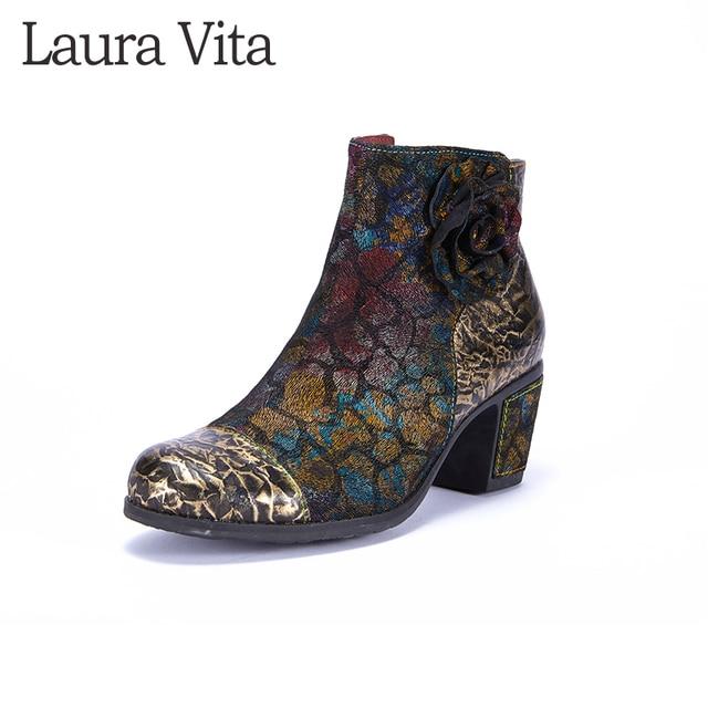 Laura Vita Hakiki Deri Baskılı Ayak Bileği çizmeler kadın ayakkabıları Bağbozumu Kış 2018 Güz Kış Kadın Boots Blok Düşük Topuklu