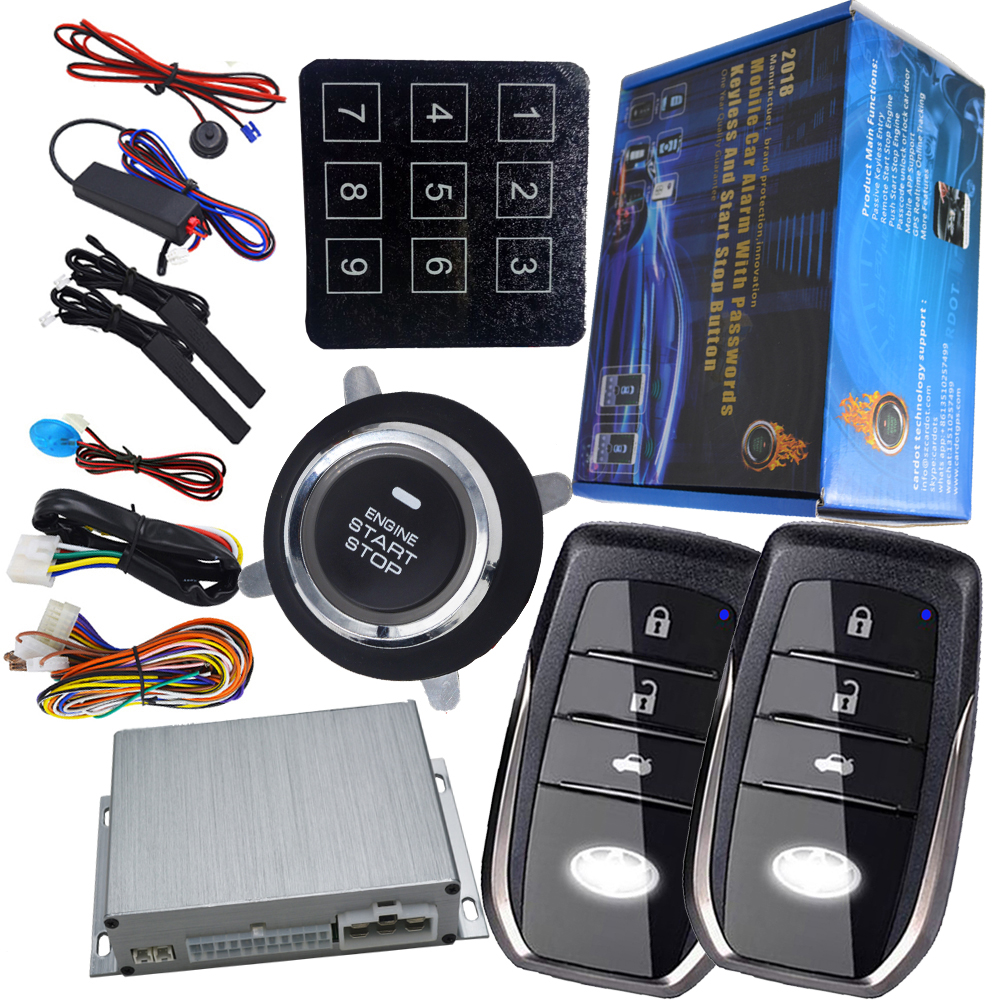 car button start stop engine auto alarm security rolling code protection passive keyless entry central lock push start engine auto smart car alarm hopping code car security system auto lock or unlock passive keyless entry push button start stop car