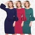 Moda feminina lanterna luva maxi dress o pescoço cor sólida dress engagement festa à noite na altura do joelho-comprimento dress vermelho verde azul