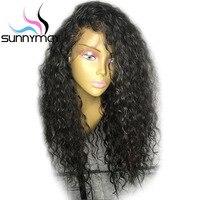 Sunnymay волосы 130% полный шнурок человеческих волос парики предварительно сорвал полные парики шнурка с ребенком вьющиеся волосы бразильский