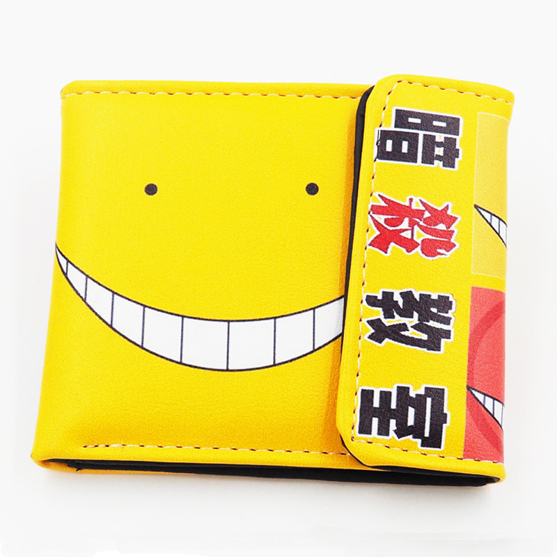 Japanese Anime Assassination Classroom Korosensei Smile PU Short Wallet Purse xiaying smile summer woman sandals shoes platform women pumps buckle strap wedges heels fashion casual flock rubber women shoes