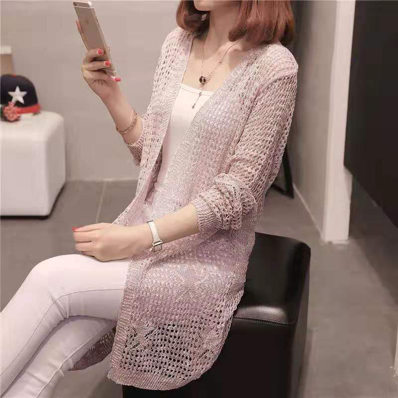 Long Causal Cardigan Sweaters Women Hollow Out Knitted Summer Knitwear Ladies V-Neck Girls Cardigans Long Sleeve Jumper Female