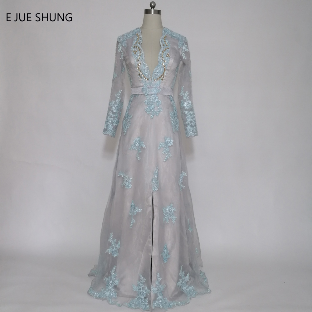 E JUE SHUNG Lace Appliques Gray Organza Underlay Long   Prom     Dresses   Long Sleeves Evening   Dresses   V-neck Middle Slit Formal   Dress