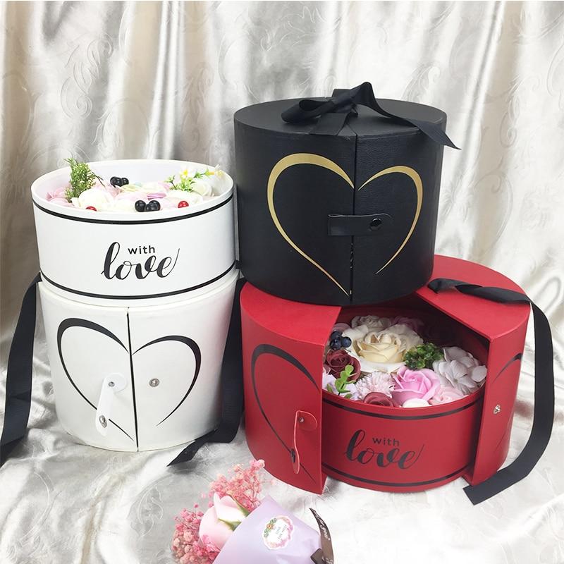 Decoration Gift Packaging Design Cardboard Cylinder Round Hat Suede Flower Box