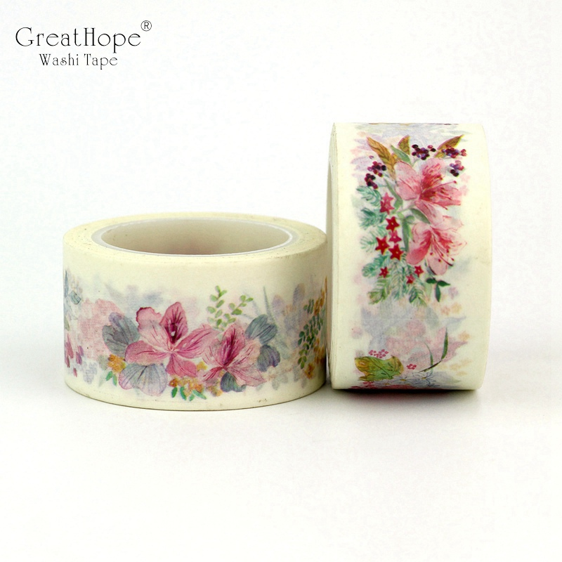 2PCS/lot NEW! Decor Pink Flower Washi Tapes Mask Paper 2.5cm*10m DIY Scrapbooking Adhesive Sticky Tape School Office Supply