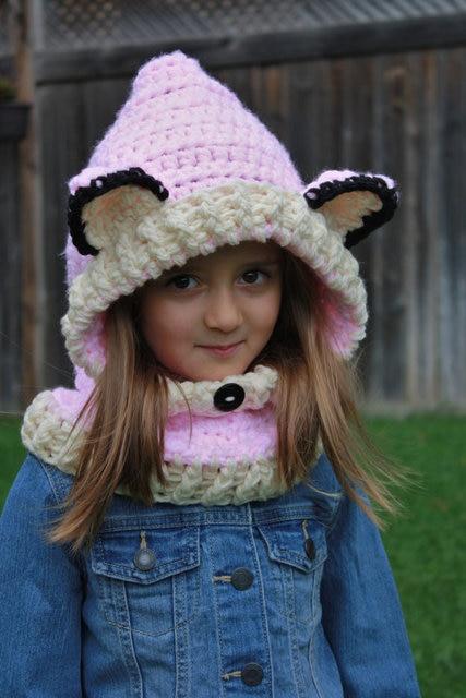 Freies Verschiffen Rosa Wolf Kapuzenschal Kinder Mit Kapuze Gugel
